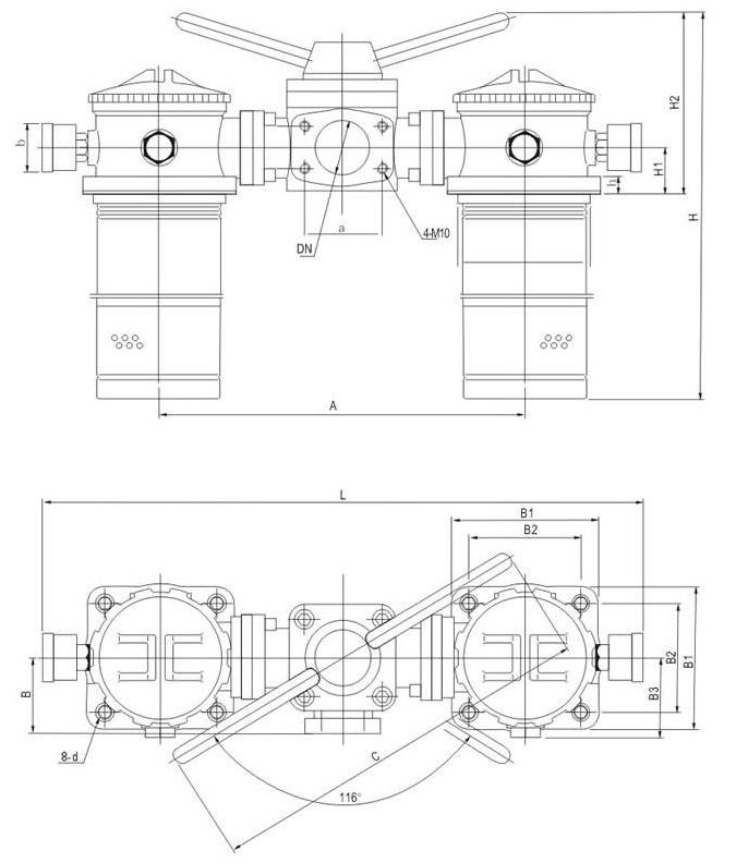 SRFA系列双筒微型直回式回油过滤器安装外型尺寸-2