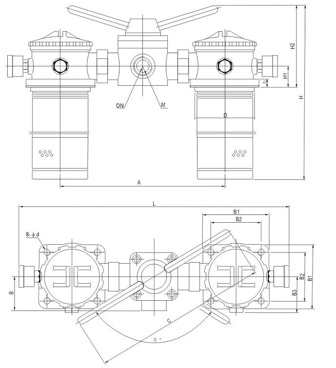 SRFA系列双筒微型直回式回油过滤器安装外型尺寸